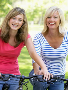 Photo of daughter and mother smiling