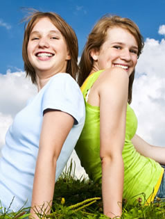 Photo of two girls smiling
